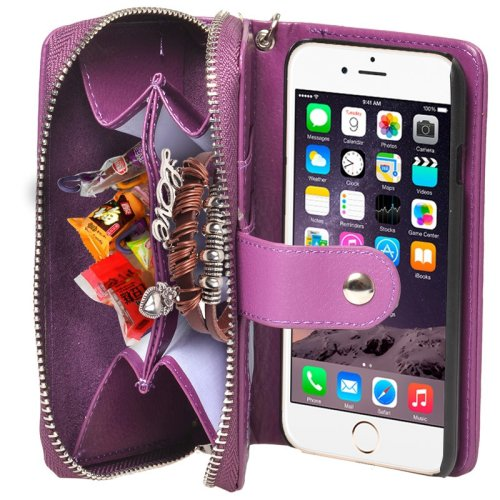 For iPhone 6 Purple 2 in 1 Separable Zipper Wallet Leather Case with Lanyard
