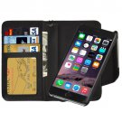 For iPhone 6 Plus Black Separable Wallet Style Magnetic Flip PU Leather Case with Lanyard