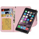 For iPhone 6 Plus Pink Separable Wallet Style Magnetic Flip PU Leather Case with Lanyard