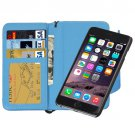 For iPhone 6 Plus Blue Separable Wallet Style Magnetic Flip PU Leather Case with Lanyard