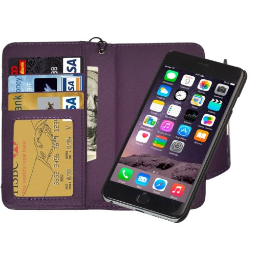 For iPhone 6 Plus Purple Separable Wallet Style Magnetic Flip PU Leather Case with Lanyard