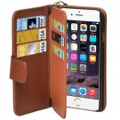 For iPhone 6 Plus Brown Wallet Style Six Card Slots PU Leather Case with Lanyard