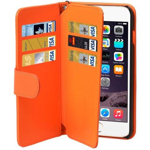 For iPhone 6 Plus Orange Wallet Style Six Card Slots PU Leather Case with Lanyard