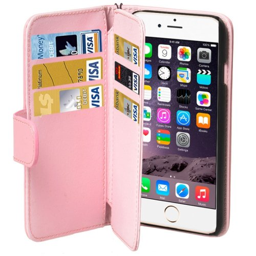 For iPhone 6 Plus Pink Wallet Style Six Card Slots PU Leather Case with Lanyard