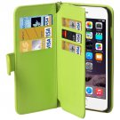 For iPhone 6 Plus Green Wallet Style Six Card Slots PU Leather Case with Lanyard
