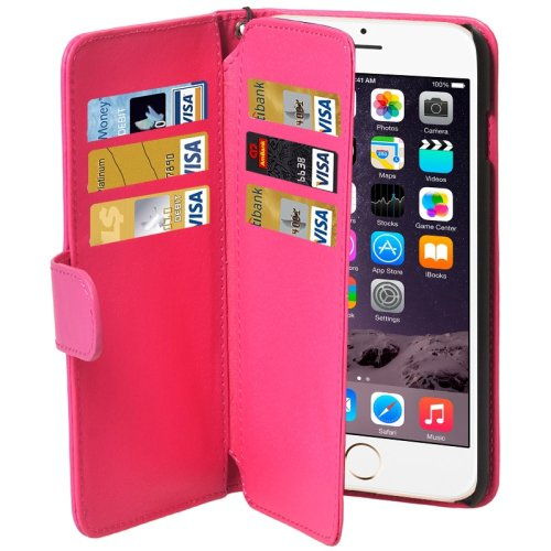 For iPhone 6 Plus Magenta Wallet Style Six Card Slots PU Leather Case with Lanyard