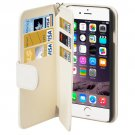 For iPhone 6 Plus White Wallet Style Six Card Slots PU Leather Case with Lanyard