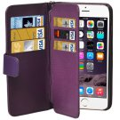 For iPhone 6 Plus Purple Wallet Style Six Card Slots PU Leather Case with Lanyard