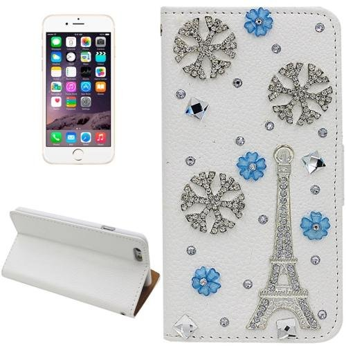 For iPhone 6 Plus Eiffel Tower Diamond Encrusted Leather Case with Holder & Card Slots