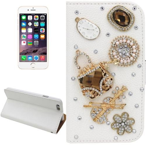 For iPhone 6 Plus Handbag Diamond Encrusted Leather Case with Holder & Card Slots