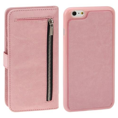 For iPhone 6 Plus Pink Separable Crazy Horse Texture Wallet Flip Leather Case