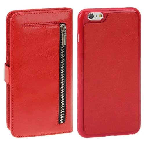 For iPhone 6 Plus Red Separable Crazy Horse Texture Wallet Flip Leather Case