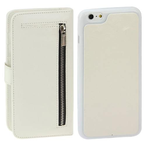 For iPhone 6 Plus White Separable Crazy Horse Texture Wallet Flip Leather Case