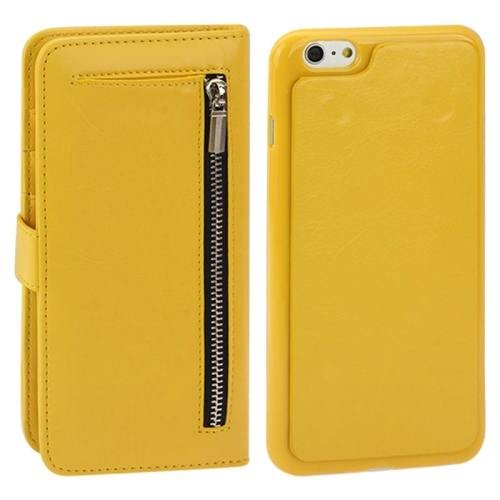 For iPhone 6 Plus Yellow Separable Crazy Horse Texture Wallet Flip Leather Case