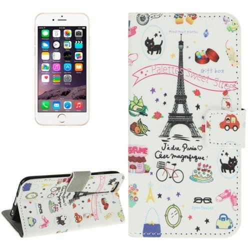 For iPhone 6 Plus Eiffel Tower Magnetic Buckle Leather Case with Card Slots, Wallet & Holder