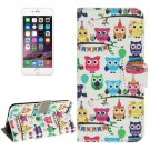 For iPhone 6 Plus Owl Lines Magnetic Buckle Leather Case with Card Slots, Wallet & Holder