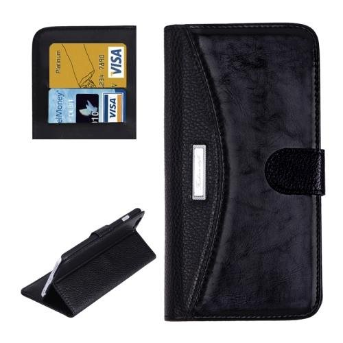 For iPhone 6 Plus Black Litchi Flip Leather Case with Card Slots, Wallet & Holder