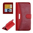 For iPhone 6 Plus Red Litchi Flip Leather Case with Card Slots, Wallet & Holder