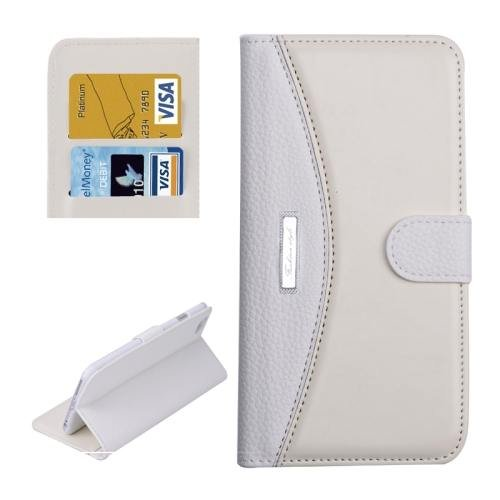 For iPhone 6 Plus White Litchi Flip Leather Case with Card Slots, Wallet & Holder