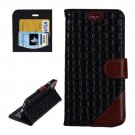 For iPhone 6 Plus Black + Brown Woven Leather Case with Card Slots, Wallet & Holder