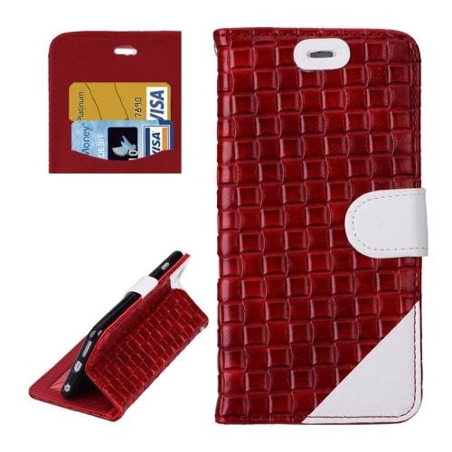 For iPhone 6 Plus Red + White Woven Leather Case with Card Slots, Wallet & Holder