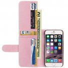 For iPhone 6 Plus Pink Crazy Horse Wallet Style Leather Case with Lanyard and Card Slots