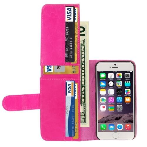 For iPhone 6 Plus Magenta Crazy Horse Wallet Style Leather Case with Lanyard and Card Slots