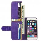 For iPhone 6 Plus Purple Crazy Horse Wallet Style Leather Case with Lanyard and Card Slots