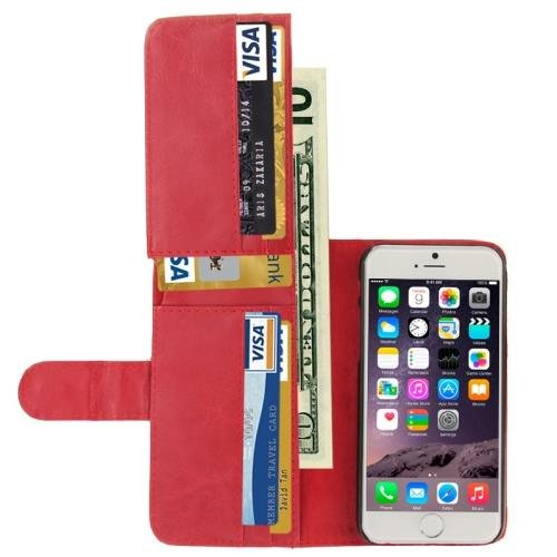 For iPhone 6 Plus Red Crazy Horse Wallet Style Leather Case with Lanyard and Card Slots