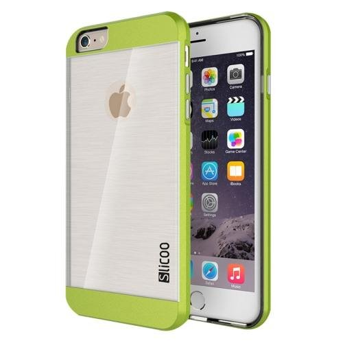 iPhone 6 Plus Green Slicoo Brushed Texture Electroplating Transparent Combination Case