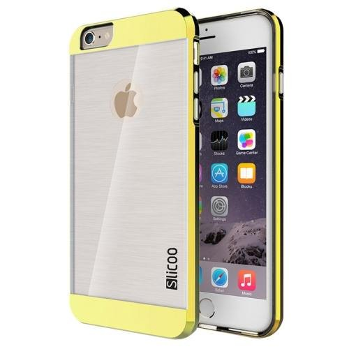 iPhone 6 Plus Gold Slicoo Brushed Texture Electroplating Transparent Combination Case