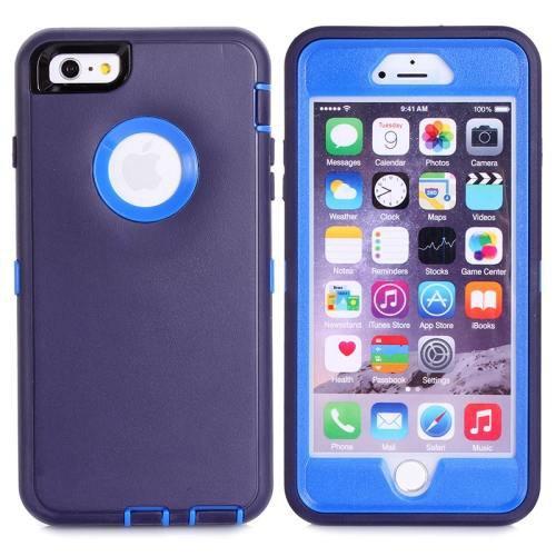For iPhone 6 Plus Dark Purple+Blue 3 in 1 Hybrid Silicon & Plastic Protective Case