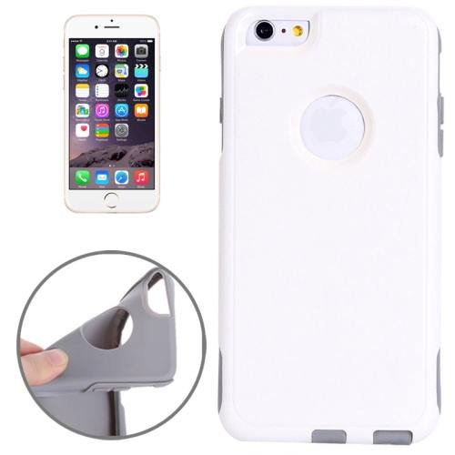 For iPhone 6 Plus White + Grey Shell + TPU Combination Case