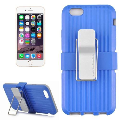 For iPhone 6 Plus Blue Plastic and TPU Combination Case with Rotatable Clip and Holder