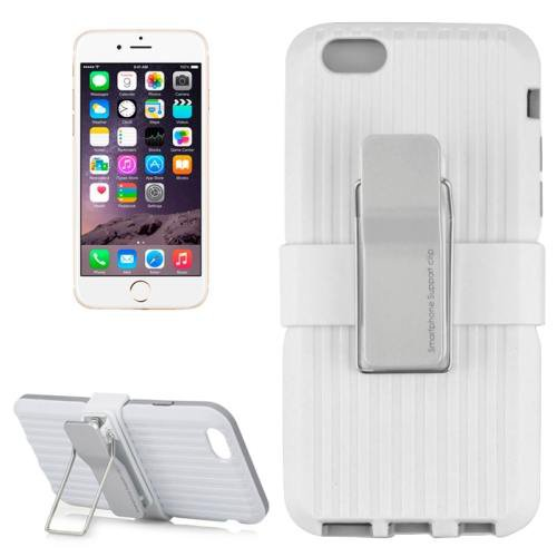 For iPhone 6 Plus White Plastic and TPU Combination Case with Rotatable Clip and Holder