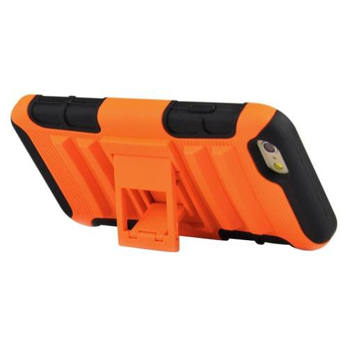 For iPhone 6 Plus Orange 2 in 1 Split Sliding Silicone+Plastic Combination Case with Holder