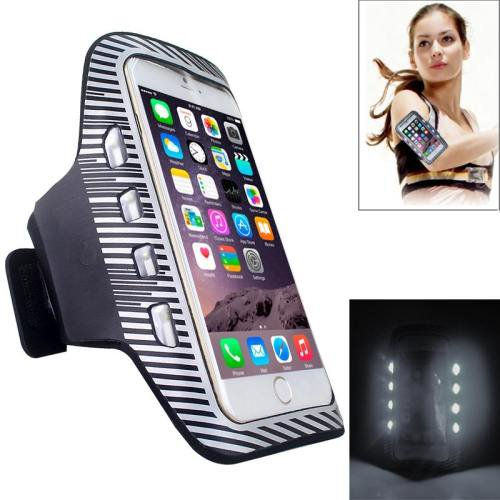 For iPhone 6 Plus White Colorful Sport Armband Case with LED Lighting