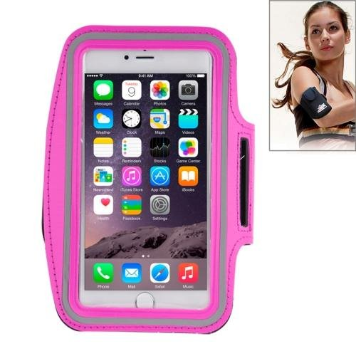 For iPhone 6 Plus Magenta Sport Armband Case with Earphone Hole and Key Pocket