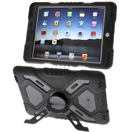 For iPad Mini 1/2/3 Black PEPK Dual Layer Silicone + Plastic Combination Case with Holder & Sticker