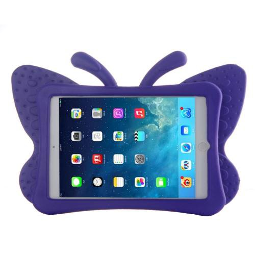 For iPad Mini 1/2/3 Purple Butterfly EVA Protective Case with Holder