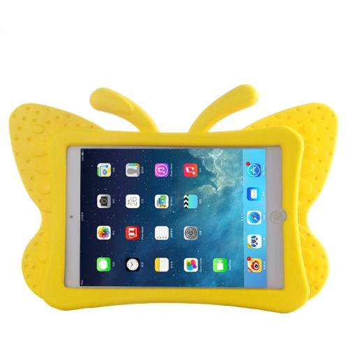 For iPad Mini 1/2/3 Yellow Butterfly EVA Protective Case with Holder