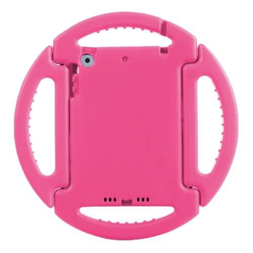 For iPad Mini 1/2/3 Pink EVA Disk Style Bumper Portable Protective Case with Handle & Holder