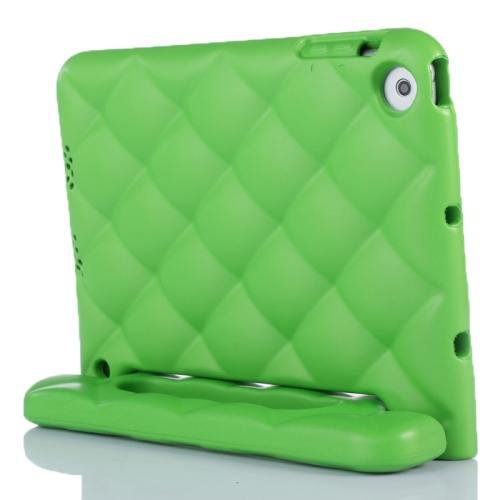 For iPad Mini 1/2/3 Green EVA Net Style Bumper Protective Case with Handle & Holder