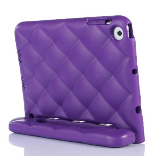 For iPad Mini 1/2/3 Purple EVA Net Style Bumper Protective Case with Handle & Holder