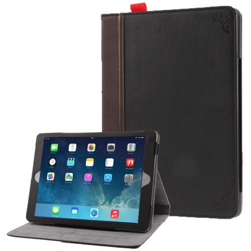 For iPad Air Retro Bookbook Style Flip Leather Case with Holder