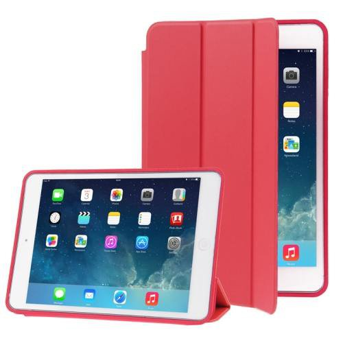 For iPad Air Red 3-folding Naturally Treated Leather Smart Cover Case with Holder