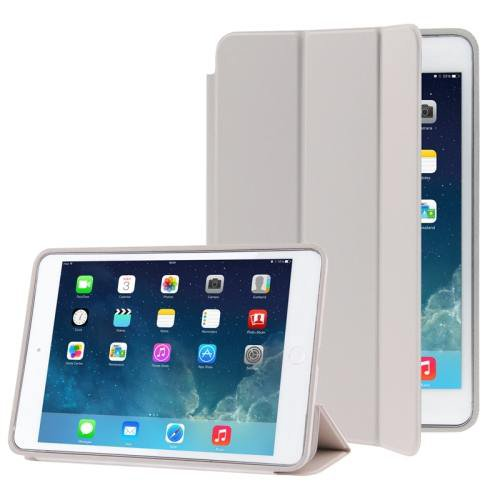 For iPad Air Grey 3-folding Naturally Treated Leather Smart Cover Case with Holder