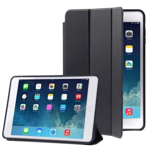 For iPad Air Black 3-folding Naturally Treated Leather Smart Cover Case with Holder