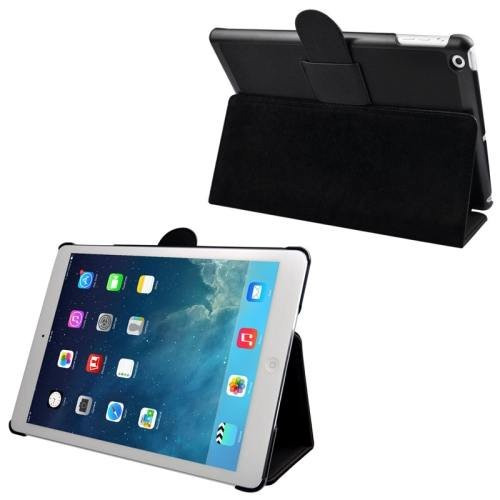 For iPad Air Black Cloth Texture Leather Case with Holder & Sleep / Wake up Function