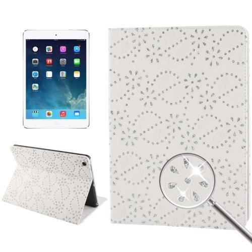 For iPad Air White Diamond Flower Leather Case with 3 Gears Holder & Sleep / Wake-up Function